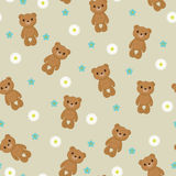 Seamless wallpaper with cute teddy bear Stock Image
