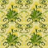 Seamless wallpaper with dandelions in art nouveau style. Vector illustration Stock Photos