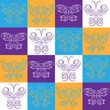 Seamless wallpaper with decorative butterflies Royalty Free Stock Photo