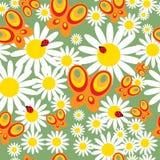 Seamless wallpaper with decorative butterflies Stock Photos
