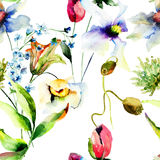 Seamless wallpaper with decorative flowers Royalty Free Stock Photography