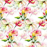 Seamless wallpaper with decorative LIly and Gerber flowers Royalty Free Stock Photos