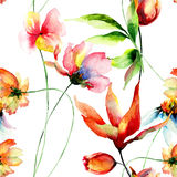 Seamless wallpaper with decorative summer flowers Stock Photos