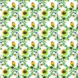 Seamless wallpaper with Decorative wild flowers. Watercolor illustration Royalty Free Stock Photography