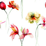Seamless wallpaper with decorative wild flowers Stock Photo