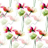 Seamless wallpaper with Decorative wild flowers. Watercolor illustration Royalty Free Stock Image