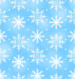 Seamless Wallpaper with Different Snowflakes Royalty Free Stock Photos