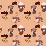 seamless wallpaper för bakgrundskaffe Royaltyfri Foto