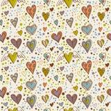 seamless wallpaper för gulliga klotterhjärtor Arkivbild