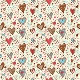 seamless wallpaper för gulliga klotterhjärtor Royaltyfri Bild