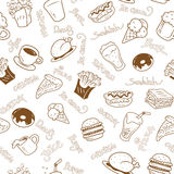 Seamless wallpaper with fast food Royalty Free Stock Photos