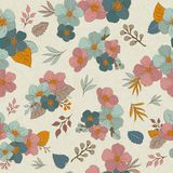 Colorful seamless pattern - flowers in vintage style, spring, ch. Seamless Wallpaper with floral ornament with leafs and flowers for vintage design. Vector Royalty Free Illustration