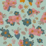 Colorful seamless pattern - flowers in vintage style, spring, ch. Seamless Wallpaper with floral ornament with leafs and flowers for vintage design. Vector Royalty Free Stock Photos