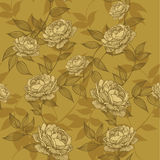 Seamless wallpaper with floral ornament and roses. Vector illust Stock Photos