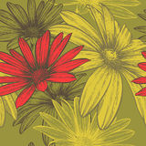 Seamless wallpaper with flowers blooming abstract,. Hand-drawing. Vector Stock Image