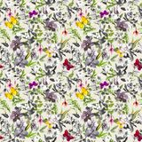 Seamless wallpaper - flowers, butterflies. Meadow floral pattern in black and white colors. Watercolor vector illustration