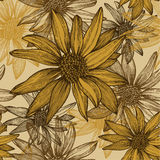 Seamless wallpaper with flowers, sunflower seeds, Stock Photos