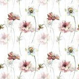 Seamless wallpaper with flowers. Watercolor illustration Stock Photo