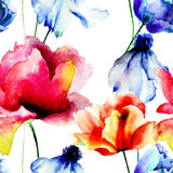 Seamless wallpaper with flowers Royalty Free Stock Image