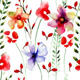 Seamless wallpaper with flowers Royalty Free Stock Photography