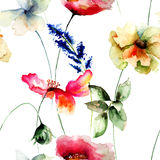 Seamless wallpaper with flowers Stock Photo