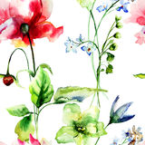 Seamless wallpaper with flowers Stock Photos