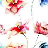 Seamless wallpaper with flowers Royalty Free Stock Photos