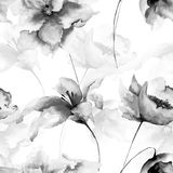 Seamless wallpaper with flowers Stock Images