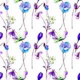 Seamless wallpaper with flowers. Watercolor illustration Stock Photos