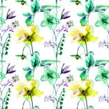 Seamless wallpaper with flowers. Watercolor illustration Royalty Free Stock Photography