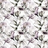 Seamless wallpaper with flowers. Watercolor painting Stock Images
