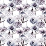 Seamless wallpaper with flowers. Watercolor painting Royalty Free Stock Image