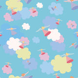Seamless wallpaper, flying angel. Angels between clouds, seamlees wallpaper Royalty Free Stock Photography
