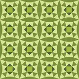 Seamless wallpaper with geometric and floral pattern green Stock Image