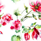 Seamless wallpaper with Geranium and Peony flowers Royalty Free Stock Photos