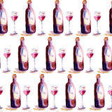 Seamless wallpaper with glass of red wine and a bottle Royalty Free Stock Photo