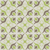 Seamless wallpaper with green brown floral pattern. Royalty Free Stock Photography