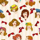Seamless wallpaper hand-drawn fashion model. Royalty Free Stock Image