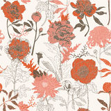 Seamless wallpaper of hand drawn flowers Stock Images