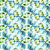 Seamless wallpaper with Hydrangea blue flowers. Watercolor illustration royalty free illustration