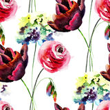 Seamless wallpaper with Hydrangea, Tulip and Rose flowers. Watercolor painting Stock Images