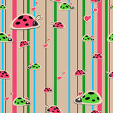 Seamless wallpaper with ladybirds Stock Image
