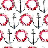 Seamless wallpaper with Life buoy and anchor Stock Photography