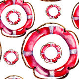 Seamless wallpaper with Life buoy Royalty Free Stock Images