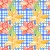 Seamless wallpaper with lilly flowers on checkered background, watercolor illustration Stock Photos