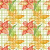 Seamless wallpaper with lilly flowers on checkered background, watercolor illustration Royalty Free Stock Photo
