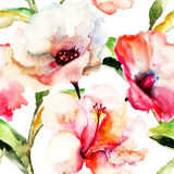 Seamless wallpaper with Lily flowers. Watercolor illustration Stock Image