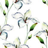 Seamless wallpaper with Lily flowers Stock Image