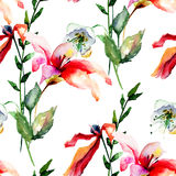 Seamless wallpaper with Lily, Poppy flowers and green leaves Royalty Free Stock Photography