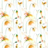 Seamless wallpaper with Lily, Poppy and Tulips. Watercolor painting Stock Photo